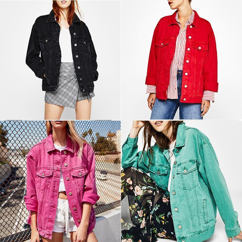 Renk Tek Breasted Gevşek Denim Ceket Casual Bayanlar Dış Giyim Kadın Giyim Tasarımcısı Kadınlar Palto Moda Şeker