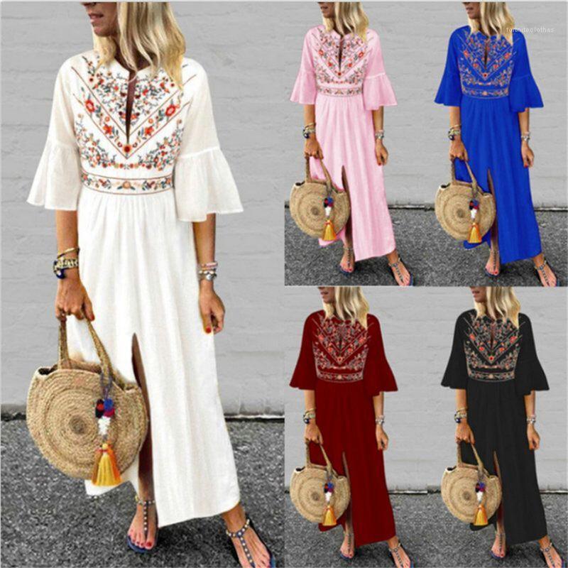 Sleeved Шить линия платье Famale Одежда женская Этнический стиль Печатные платье Summer Casual дряблая Mid