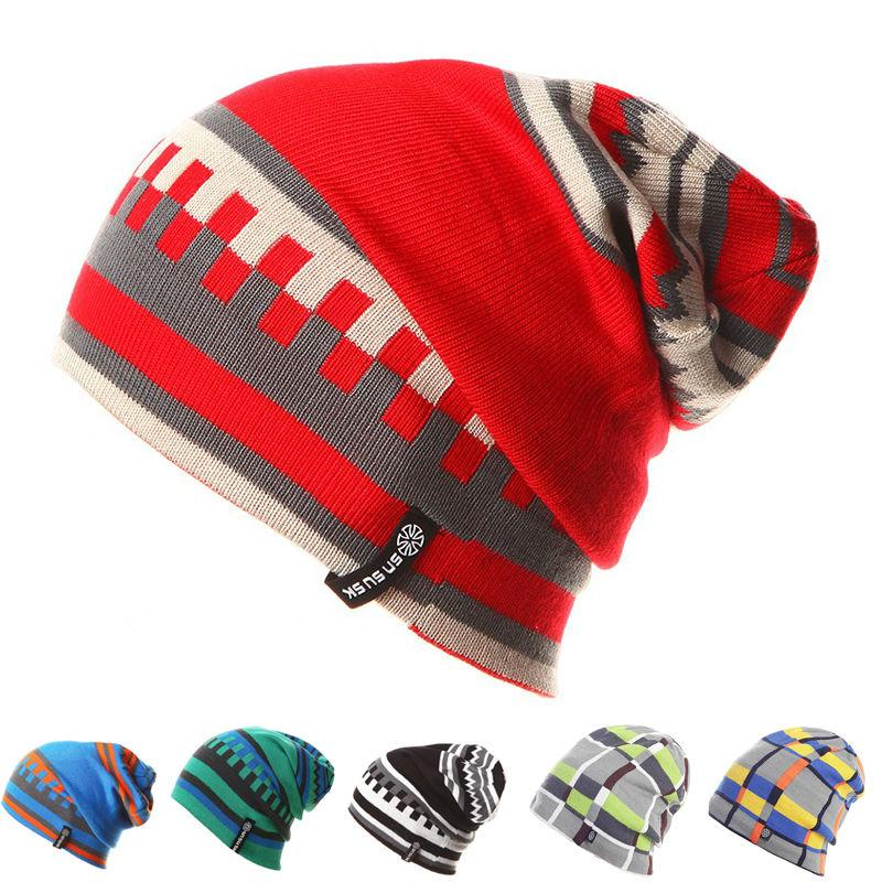 Unisex Skiing Hats Warm Winter Knitting Skating Skull Cap Hat Beanies Turtleneck Caps Ski Cap Women