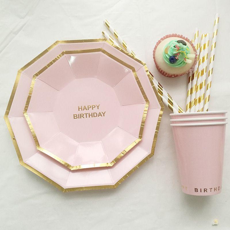 Princesse prince Joyeux anniversaire papier Coupes Plaques papier rose couleur bleu Art de la table Foil Set Carinval Ins Accueil Fournitures jetables