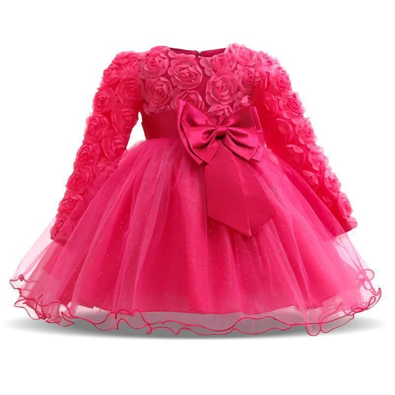 Baby Girl Dress Winter Tutu Dresses For Newborn Baby Wedding Christening Party Wear Toddler Girl 1 Year Birthday Frocks Baptism MX190719