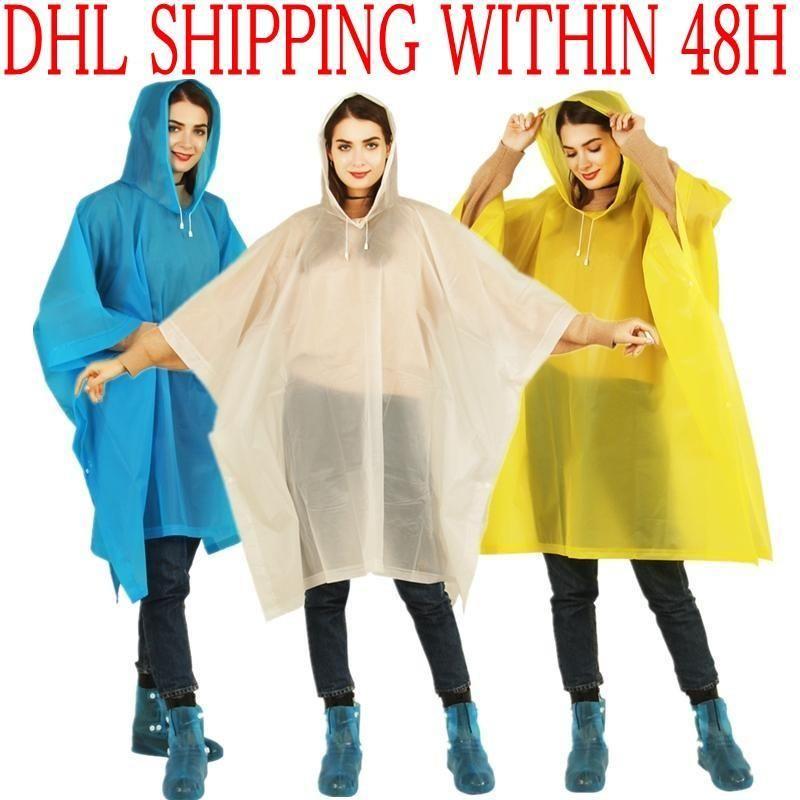 DHL شحن EVA عباءة غير القابل للتصرف سميكة الصلبة لون معطف واق من المطر E-ودية للماء معطف واق من المطر السفر في الهواء الطلق لونغ ملابس ضد المطر FY6058