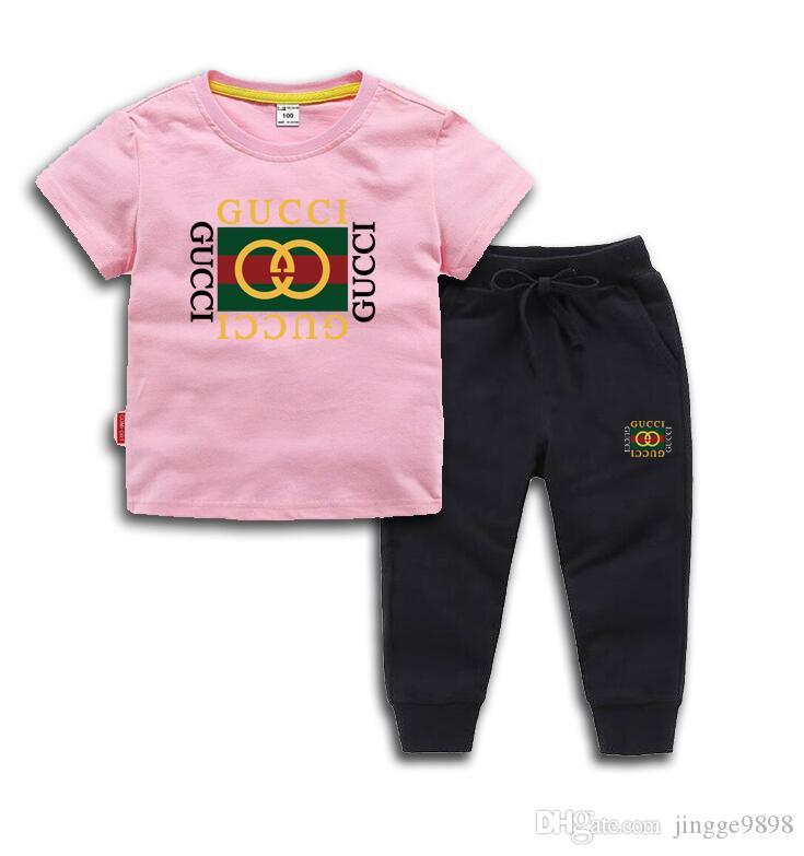 Baby Jungen und Mädchen Designer neue Art-Kinderbekleidung für Jungen und Mädchen Sport Anzug Baby-Säuglings-Kurzschluss-Hülsen-Kleidung-Kind-Set