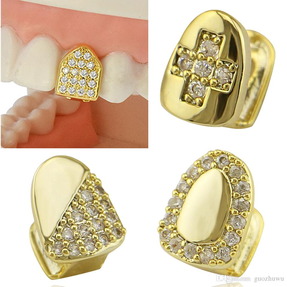 18K Real Gold Braces Punk Hip Hop Diamond Single Teeth Grillz Dental Mouth Fang Fake Grills Tooth Cap Cosplay Party Rapper Jewelry Wholesale
