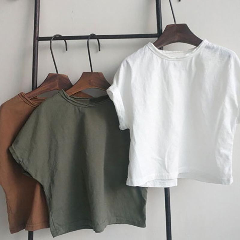 MILANCEL детской одежды мальчики тенниска твердые футболки для девочек чистого хлопка топов для девочек Японии стиля майка девочка T200511