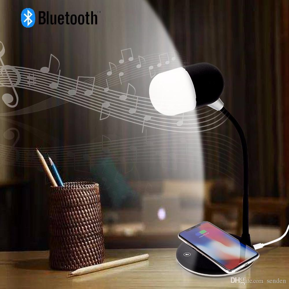 L4 power sound Flexible gooseneck LED desk lamp USB charging with wireless charger bluetooth speaker table light Smart Touch Dimmer lighting