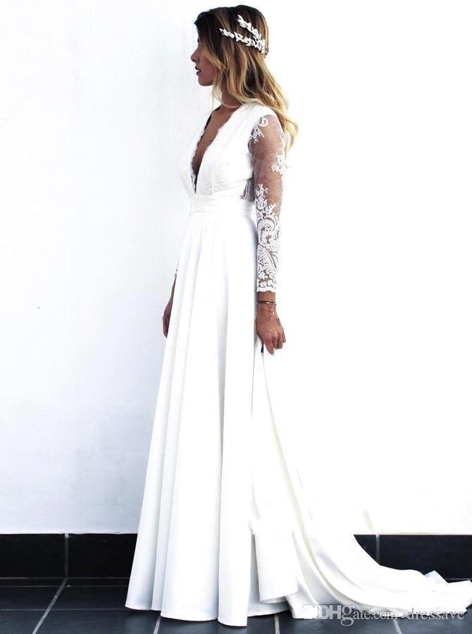 Discount 2020 New Lace Bohemian Wedding Dresses Vintage Lace Long Sleeve Boho Wedding Dress Open Back Bridal Gowns Vestido De Noiva Wedding Dress Uk Wedding Dresses For Sale From Faone20 85 28 Dhgate Com