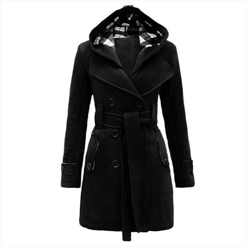 US Women Lady Winter Hoodie Long Peacoat Coat Trench Outwear Jacket Dress w/Belt