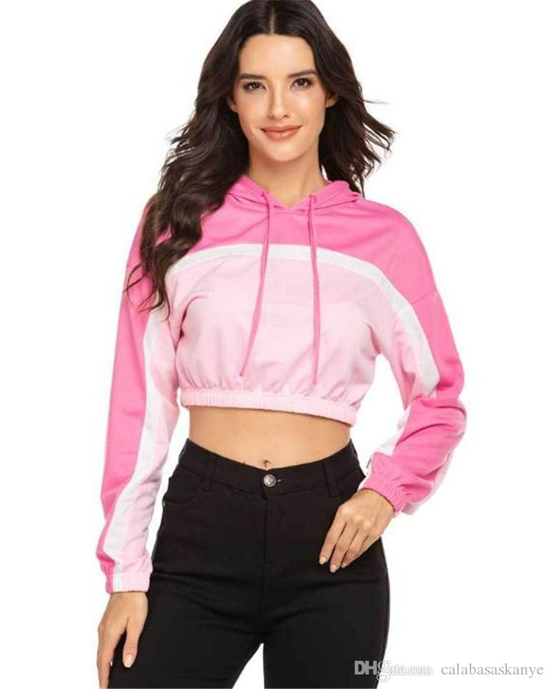 Designer Sexy Womens Hoodies Moda solto Mulit Cor Rosa Painéis Womens curto Hoodies Casual fêmeas roupa