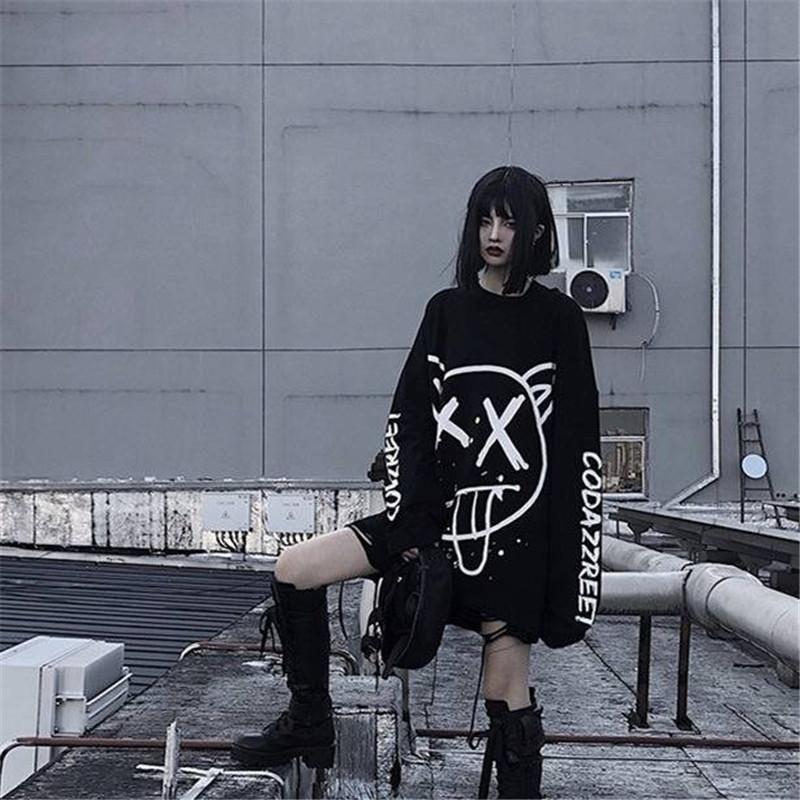 Arrefecer Mulheres da moda coreana de grandes dimensões camisa de manga longa t hip hop punk do streetwear meninas T preto Outono soltas T Shirt fêmeas T200411
