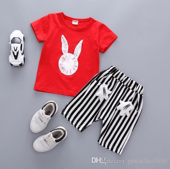 Nouvel été mignons enfants de lapin manches courtes en deux parties coréenne imprimés qualité de vêtements pour enfants de occasionnels costume enfants