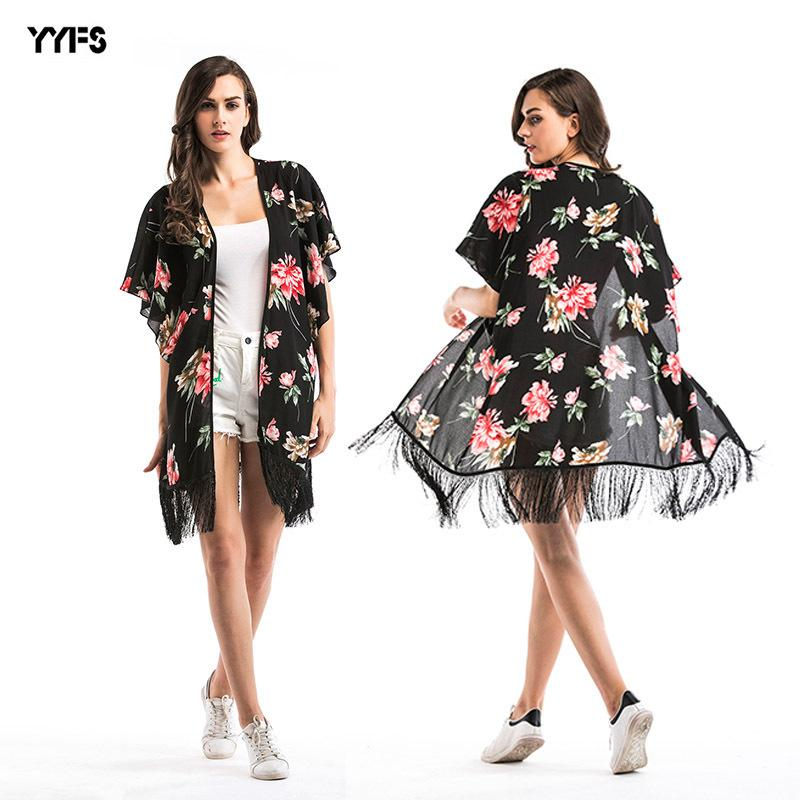 womens designer Printed floral long chiffon sunscreen cardigan beach blouse tassel sunscreen shawl coat