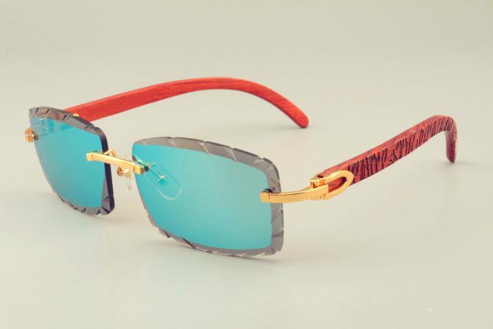 2019 الجديدة الساخنة بيع عدسة النقش / الذراع نظارات شمس 8300915 ذراع خشبي الطبيعي نظارات جدا، ظلة للجنسين، عدسة 3.0 سمك