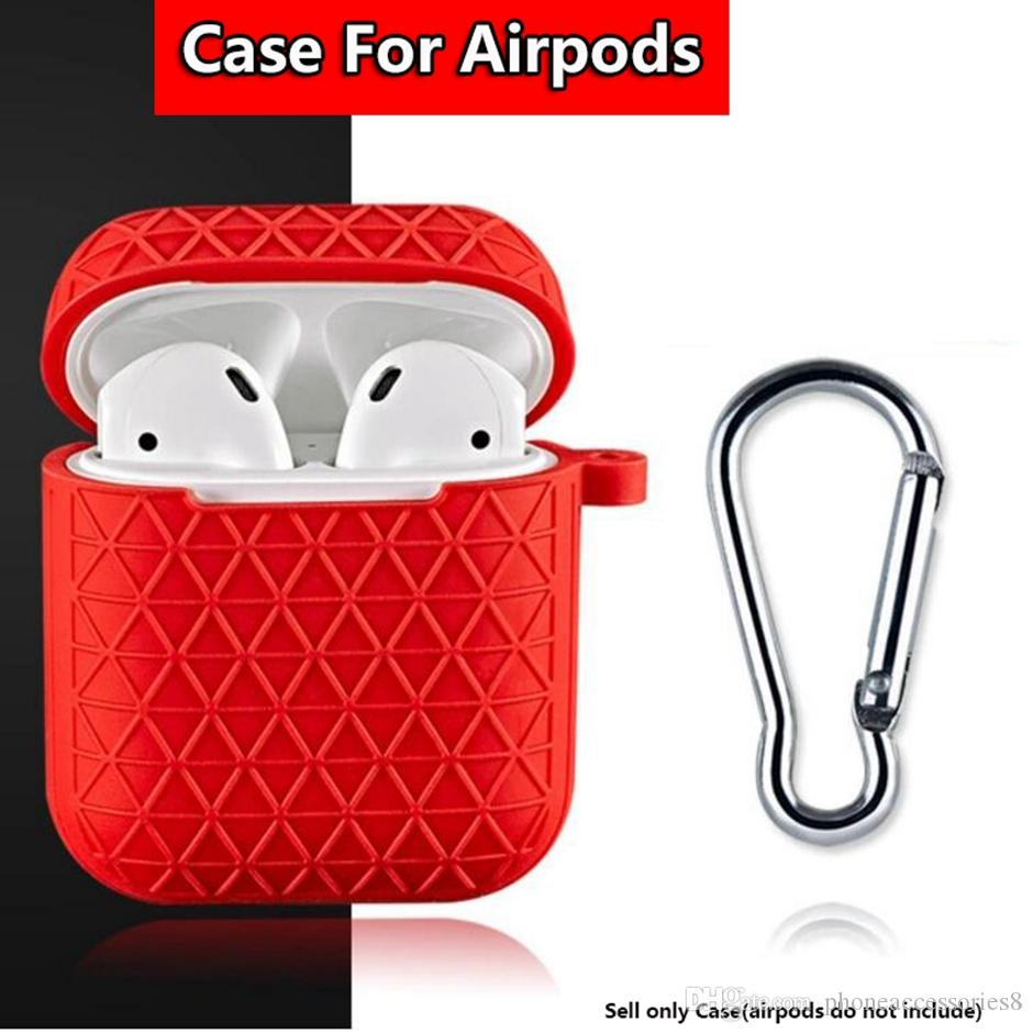 For Airpods Cases Protective Cover Hook Keychain Anti Lost Fashion headphoens for Apple airpod Earphone Case Protector