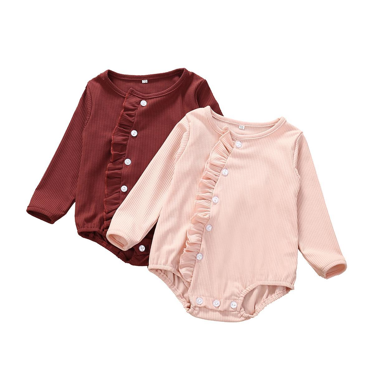 Enfant nouveau-né bébé layette 2020 Nouveau manches longues en coton Bodies Jumpsuit Tenues enfant en bas âge solide layette 0-24M