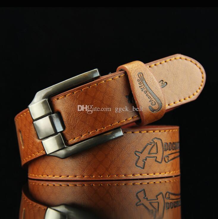 Estilo kroea Nuevos cinturones de cuero para hombres Cinturón con hebilla para hombre Cinturón marrón para hombres Cuero de la PU de los hombres 3.7 cm Ancho 110 cm