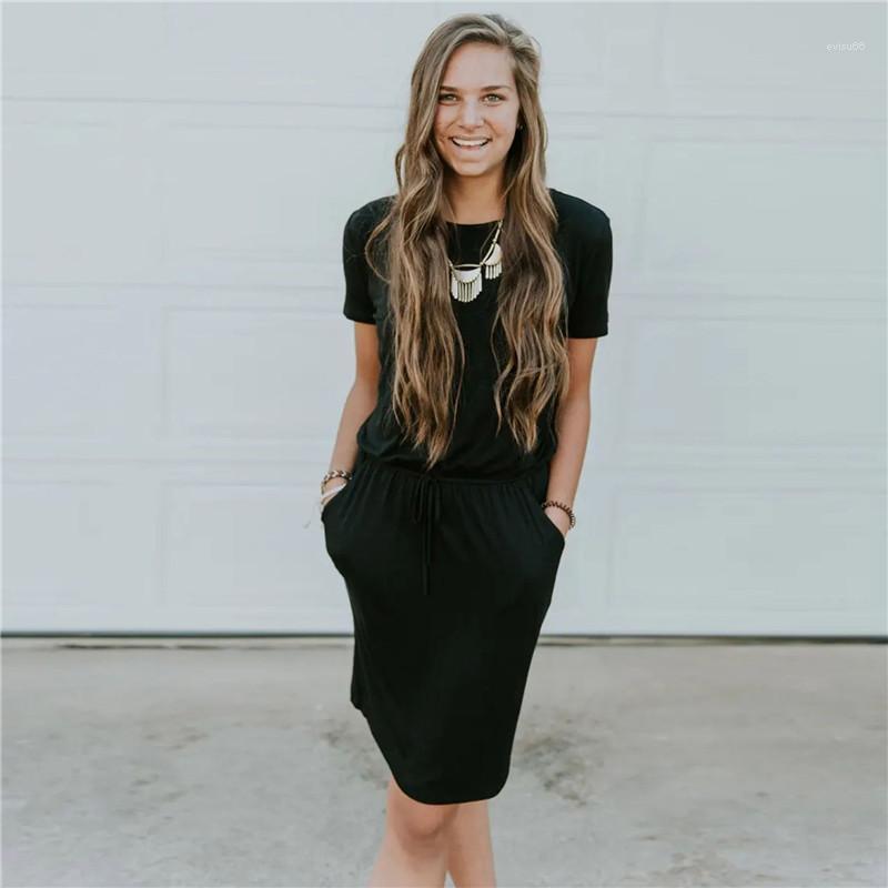 Sleeve Donna Kleid der kurzen Dame dünnes Tuch Solide Designer Lace Up Frauen-beiläufiges Kleid Mode Short
