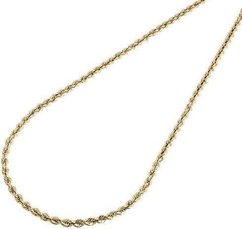 """Homens da suficiência do ouro amarelo de 10K ou colar de corrente da corda oca das senhoras 3 milímetros 24 """"polegadas"""