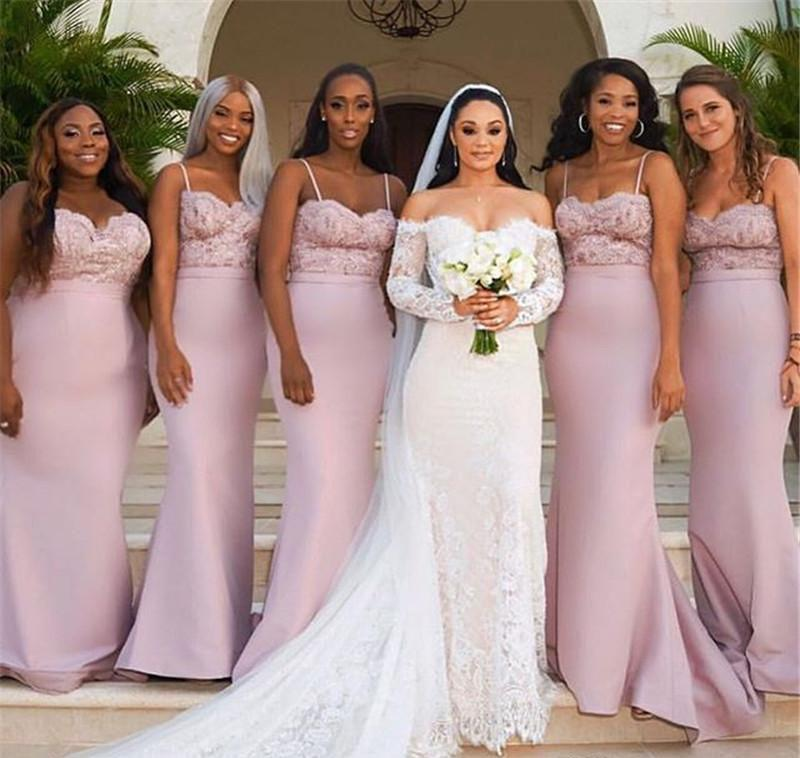 Mermaid Long Light Pink Bridesmaid Dresses Summer Country Garden Formal Wedding Party Guest Maid of Honor Gowns Plus Size Custom Made