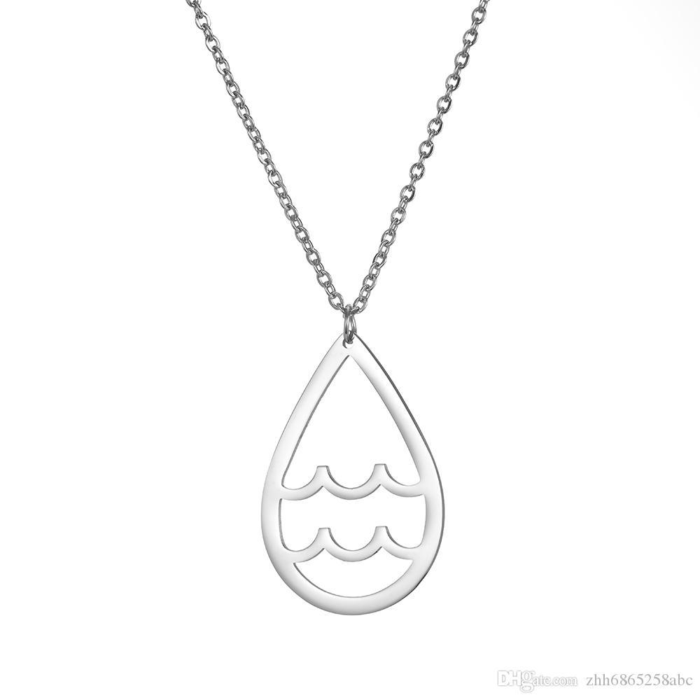 ZGN003 Best-seller 2020 mais recente design retro geométrica colar de forma de onda de aço inoxidável charme colar requintado para o presente
