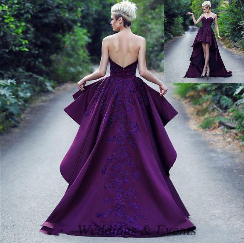 2020 Kundenspezifische purpurrote Satin Hallo-lo Abendkleider reizvoller Schatz-Backless Abend-Kleid Sweep Zug plus size SpitzeAppliques Party / Cocktailkleid