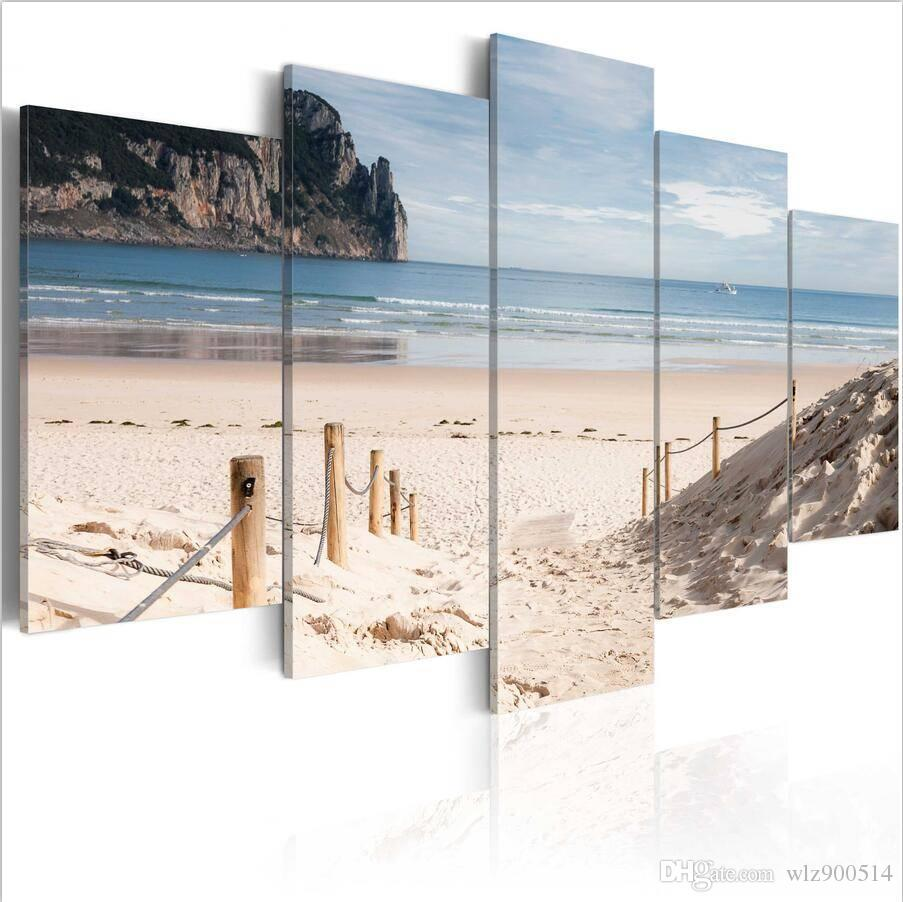 5pcs/set Island Beach Decorative Painting On Canvas (No Frame) Seaside Natural Scenery Pictures For Home Decor Great Poster