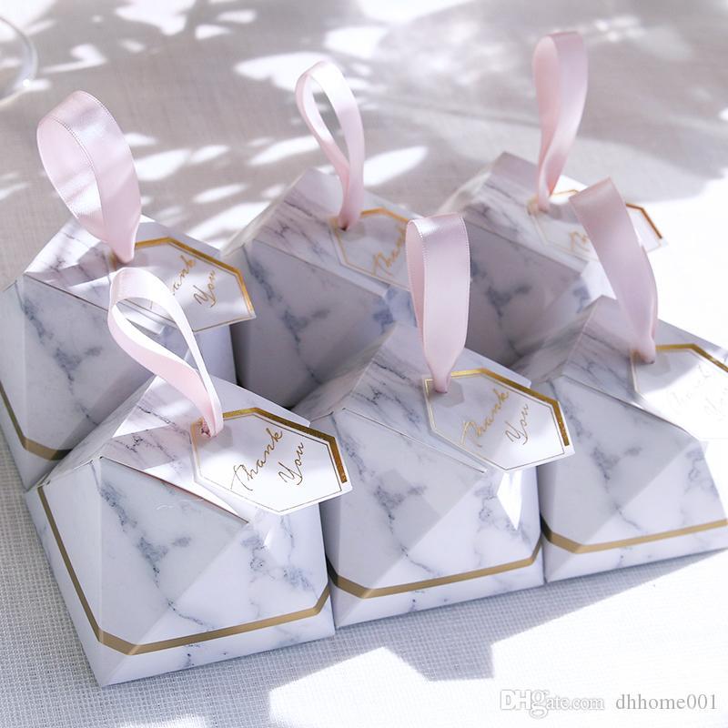 Diamant Forme Marbre Boîte De Bonbons Faveurs de mariage et cadeaux Boîtes Boîte de chocolat Boîtes Bomboniera Cadeaux de célébration