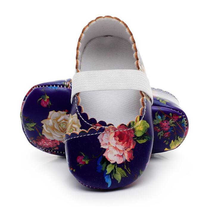 2019 New Hot sale pu leather floral soft sole baby girls princess moccasins mary jane dress shoes first walker shoes