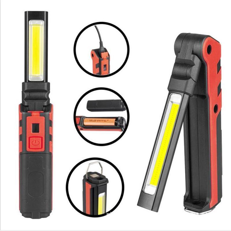 휴대용 스포트라이트 COB 작업 빛 주도의 USB 충전식 전원 은행 자기 손전등 비상 조명 캠핑 조명 토치 랜턴
