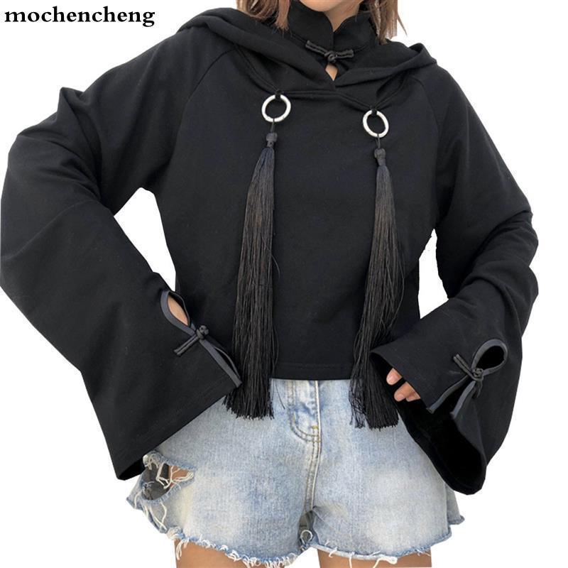 Mulheres Hoodies Camisolas 2021 Primavera Menina Retro Impressão Tassel Pullover Solto Preto Hooded Harajuku Casual Moletom
