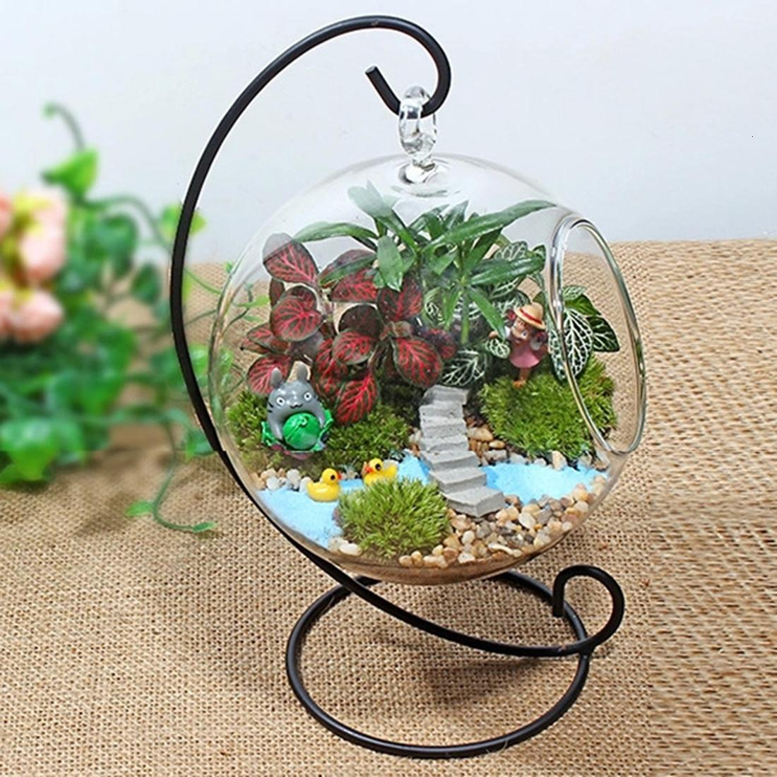 Creative Clear Glass Ball Vase Micro Landscape Air Plant Terrarium Succulent Hanging Flowerpot Container Flower Vases For Homes T191016