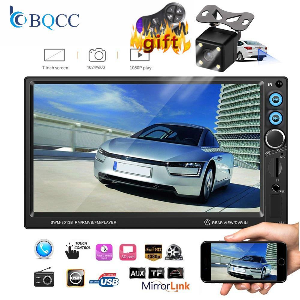 """자동차 라디오 7 """"HD Autoradio 멀티미디어 플레이어 2 MP5 딘 자동차 오디오 스테레오 터치 스크린 블루투스 AUX의 USB TF FM 역 카메라"""
