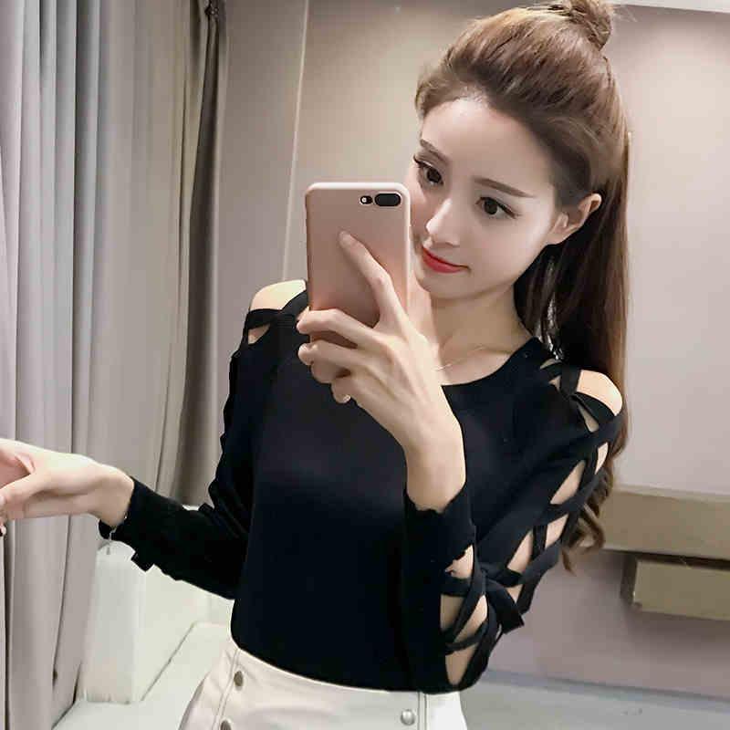 2019 kadın ilkbahar ve sonbahar yeni ince kazak kadın yuvarlak boyun uzun kollu kazak kafa ince kısa