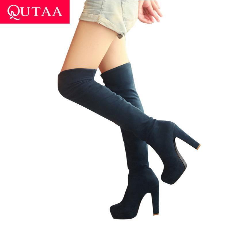 QUTAA 2020 новых женщин сапоги сексуального способа над коленом Boots Sexy Тонкий квадратный каблук ботинка платформы женская обувь черный размер 34-43 T200104