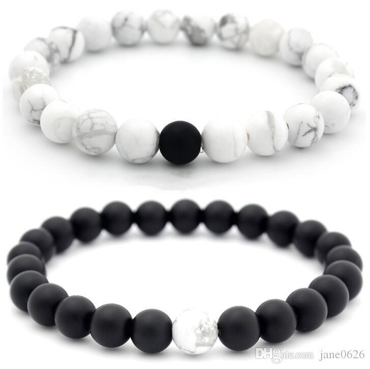 8mm Dumb Black Givré Naturel Blanc Couple De Pin Bracelet Le meilleur cadeau pour la Saint Valentin 2 pcs / set Livraison gratuite