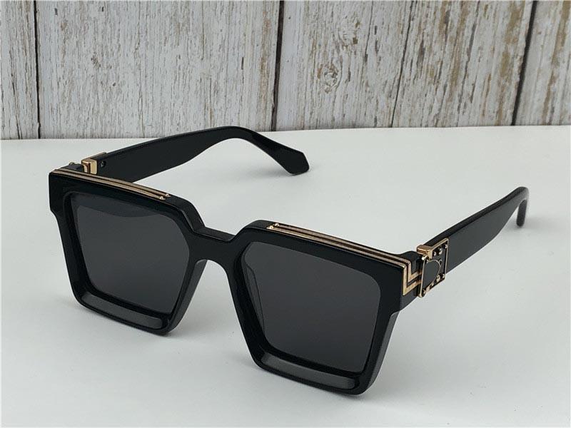Designer-Novos homens marca designer óculos de sol 96006 Milionário quadro quadrado do vintage brilhante ouro verão UV400 lente estilo laser logotipo top quality