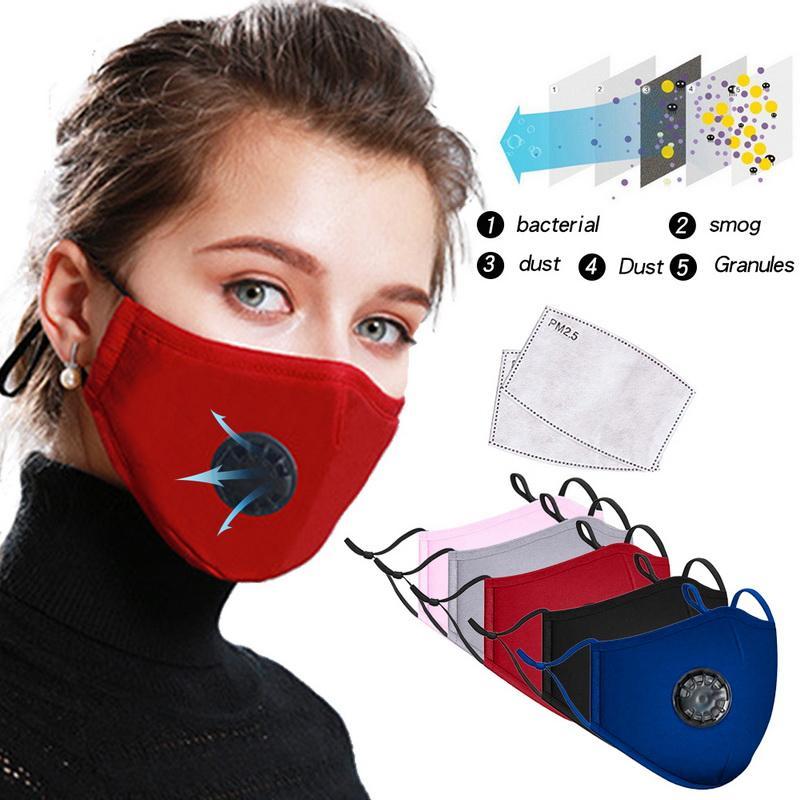 Мода хлопок маска для лица дышащий клапан PM 2.5 анти-пыль активированный уголь партия Маска с фильтром-моющийся многоразовый респиратор крышка лица