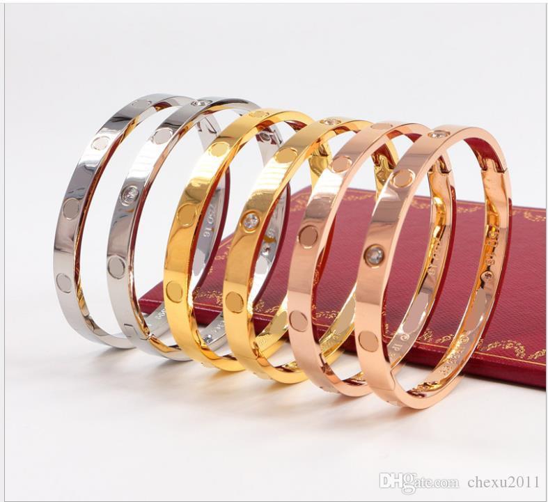 Buckle Bracelet 18K Rose Gold Titanium Steel Diamond Couple Bracelet Engraved Edition