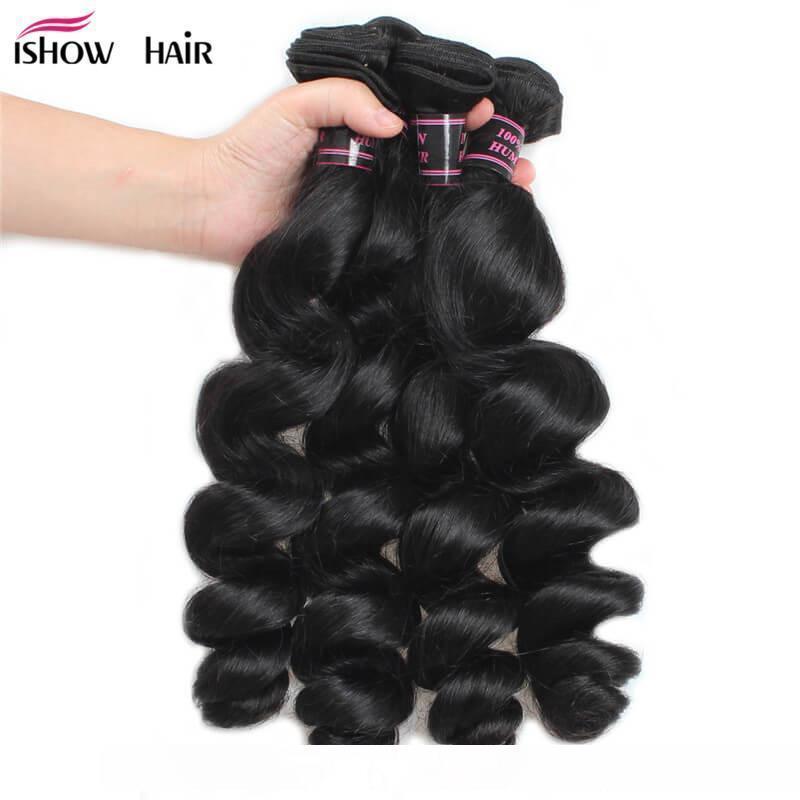 B Hot brasiliano peruviano malese indiano onda allentata iShow 8a estensioni dei capelli umani 3bundles Con Frontal del merletto a buon mercato tessuto in linea intero