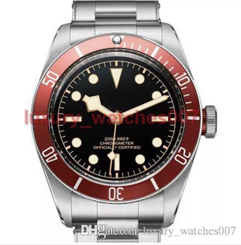Tudorrr 브랜드 남성 시계 스테인레스 스틸 자동 운동 기계 레드 베젤 블랙 ROTOR MONTRES 단단한 걸쇠 제네바 시계 다이얼