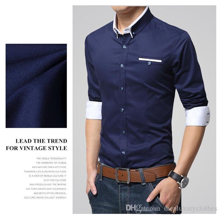 Camisas de vestido do desenhador do negócio dos homens camisa ocasional masculina gola única camisa de Breasted