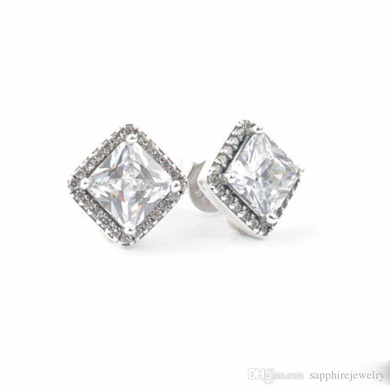 Yeni 100% Otantik 925 Ayar Gümüş Sonsuzluk Elegance Pan Saplama Küpe Kadınlar Için Temizle Kristal Ile Otantik Orijinal Takı