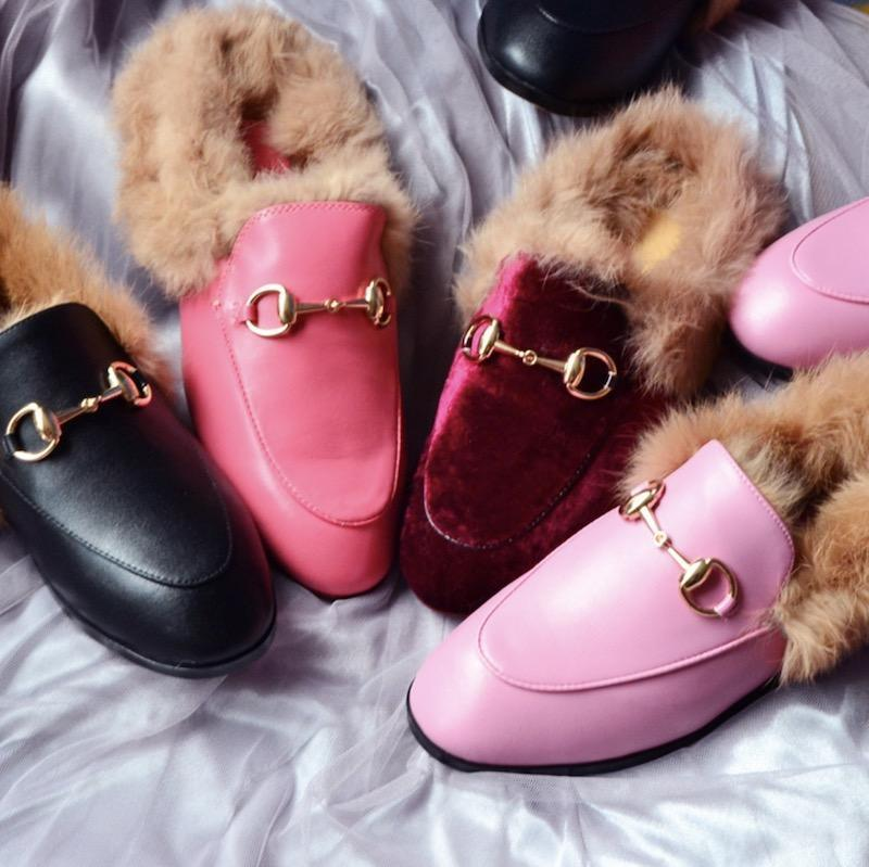 2019 luxuryshoes Newest cheap Shoes Fur Mule Metal Chain slippers Luxury Designer Genuine Leather Loafers Shoe With dustbags boxes s01