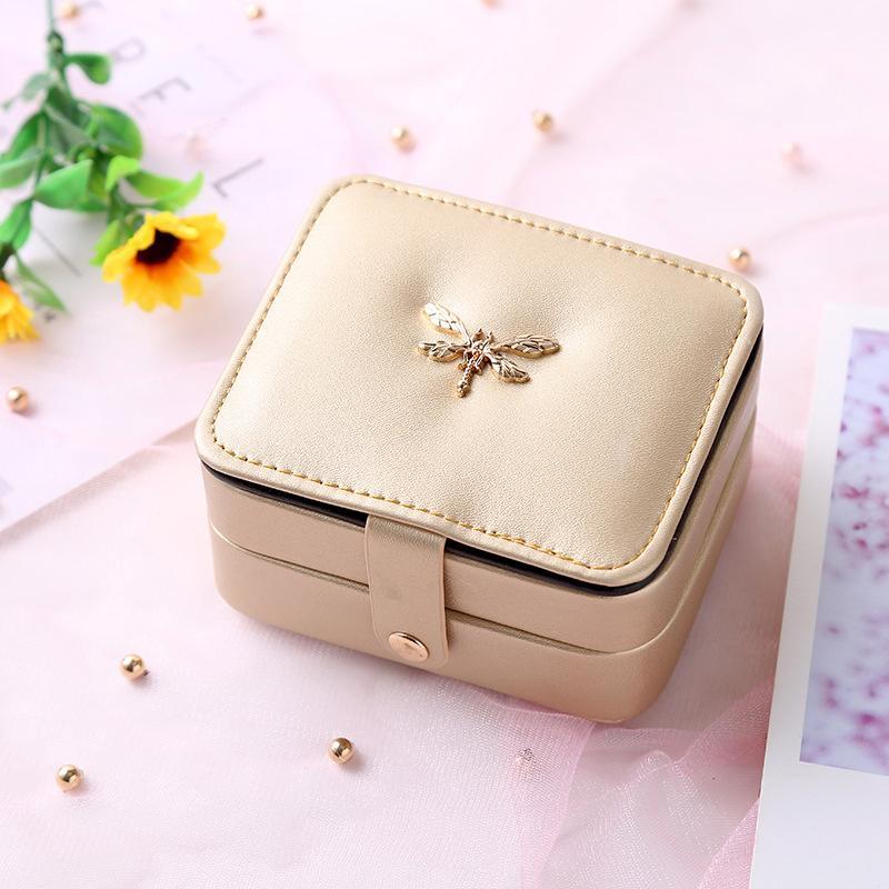 De camada dupla caixa de jóias simples portátil Princesa Europeia brinco conjunto de saco de cosméticos caixa de armazenamento