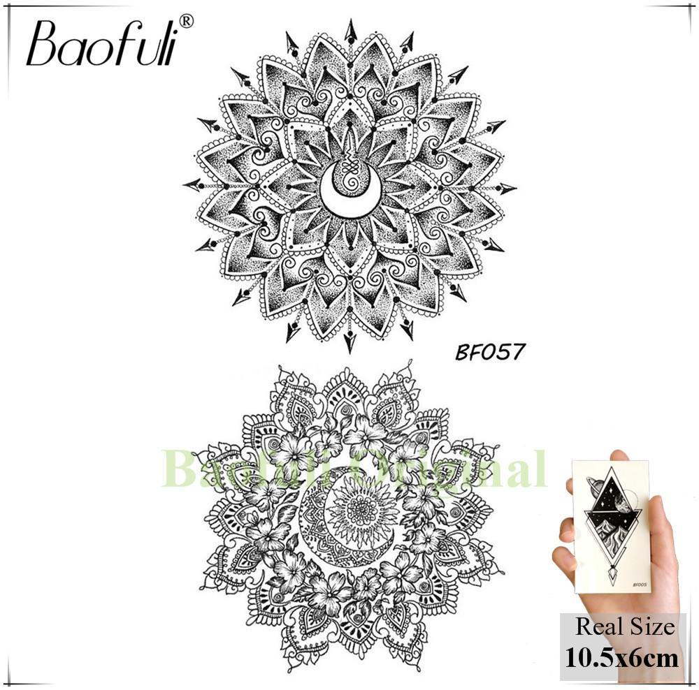 Acheter Mehndi Noir Fleur Au Henné Tatouage Temporaire Croissant Mandala Géométrique Soleil Lune Tatouages Body Art étanche Femmes Tatouage