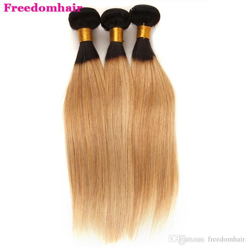 Brezilyalı Malezyalı Düz Ombre Sarışın İnsan Saç atkıların T1B / 27 # T1B27 İnsan Saç Paketler 8-22 inç Brezilyalı Hint Remy saç 3/4 Paketler