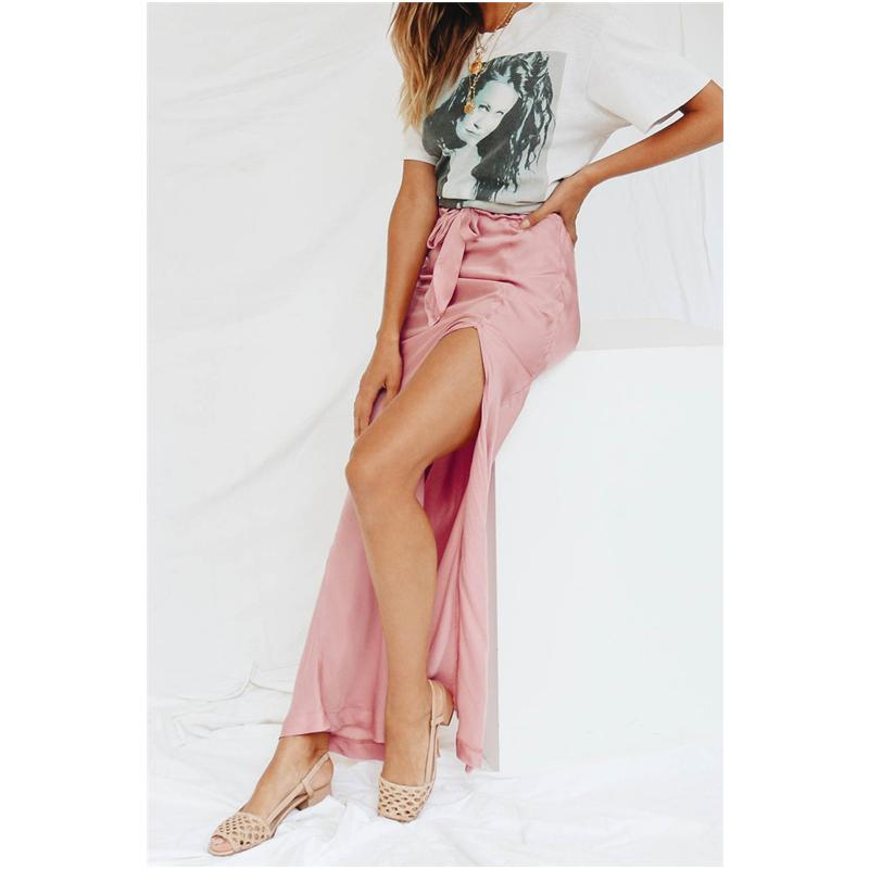 Sexy Satin Split Maxi Skirts For Women Summer Elegant Bow Lace Up Long Skirt High Waist Ladies Ankle-Length Pencil Skirt Jupe