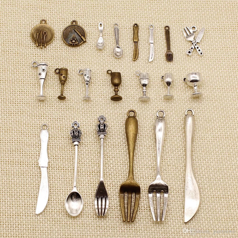 60 Charms Pieces metal ou Encantos Pulseira Talheres Colher Garfo Faca Cup HJ097