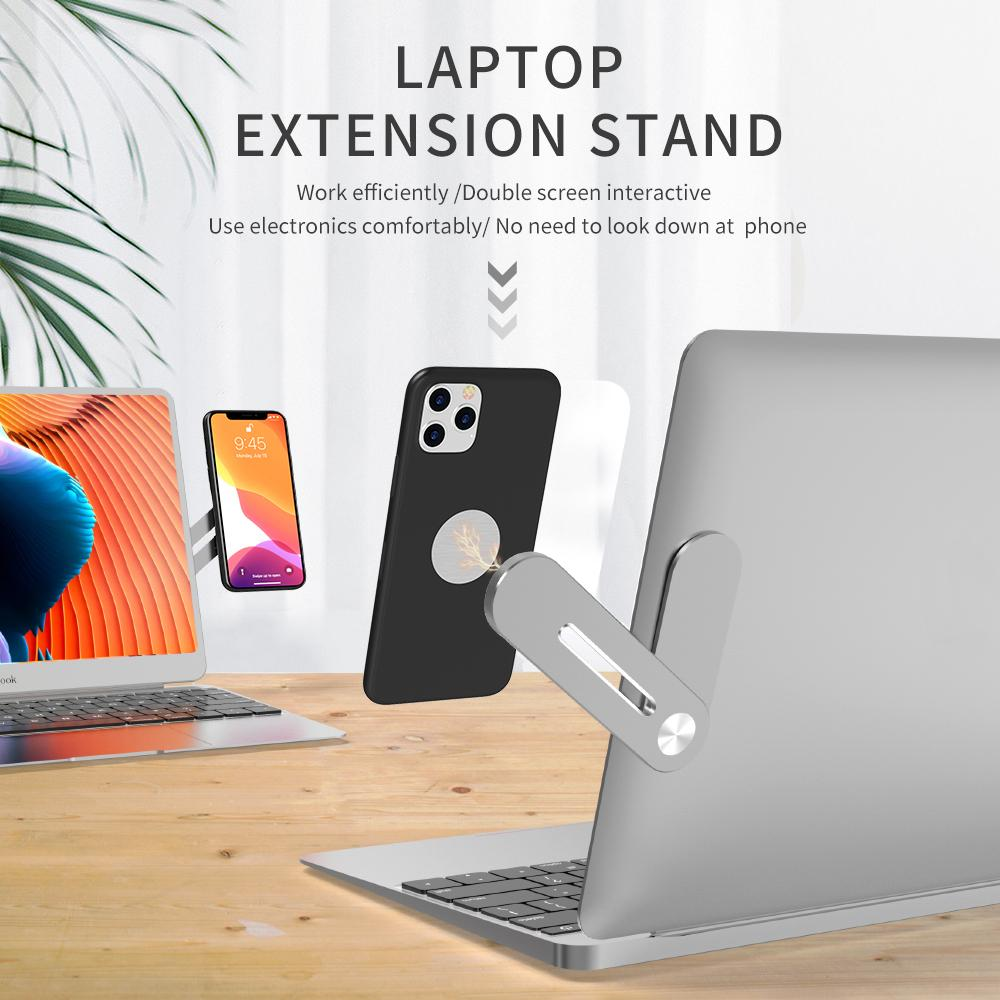 Portable Metal Shrink Phone Bracket Notebook Expansion Bracket Tablet PC Lazy Mobile Phone Holder Live two-in-one Support