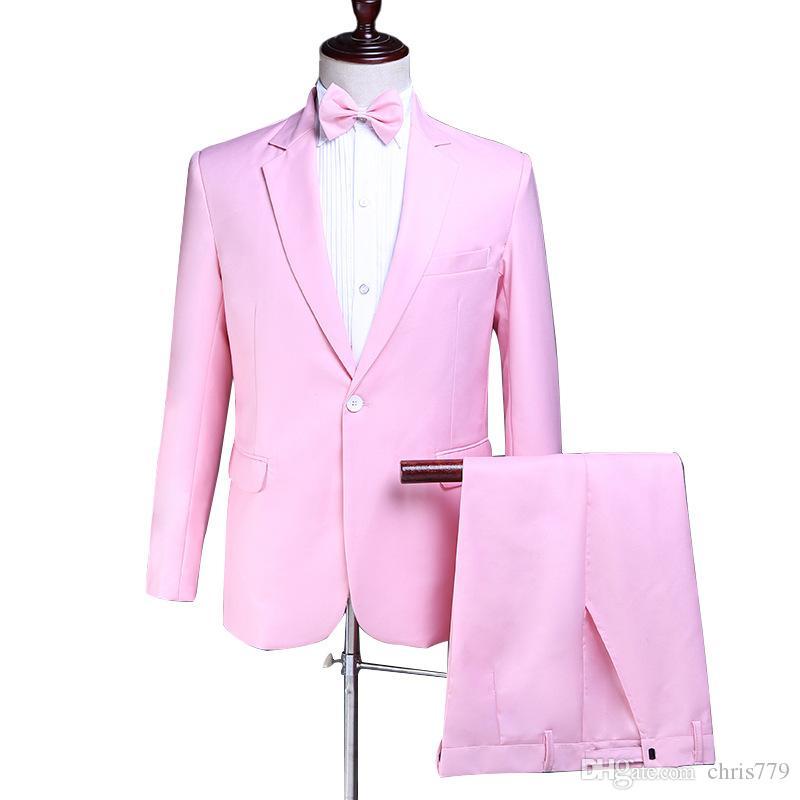 Terno dos homens terno novo terno de duas peças rosa quente dos homens (jaqueta + calça) dos homens de moda slim banquete vestido formal